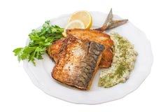 Stekt fisk i brödsmulor Royaltyfri Bild