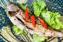 Stekt fisk med chili arkivbild