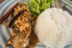Stekt fisk med vitlök och ris för lunch eller andra gånger Royaltyfria Foton