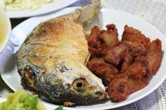Stekt fisk och griskött Royaltyfria Foton