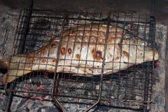 Stekt fisk på galler Royaltyfria Foton