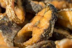Stekt fisk till guld- brunt close upp Royaltyfria Foton
