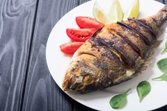 Stekt fiskdorado med limefrukt, tomater och spenat arkivfoton