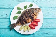 Stekt fiskdorado med limefrukt, tomater och spenat arkivbild