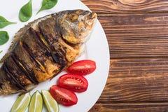 Stekt fiskdorado med limefrukt, tomater och spenat arkivbilder
