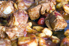 Stekt griskött i den selektiva fokusen för panna Arkivfoton
