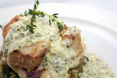 Stekt grisk?tt med champinjoner, potatisar, rosmarin och tartars?s p? en vit bakgrund arkivfoto