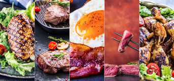 stekt höna steker bensallad Gallerkött - bli rädd, nötkött och bacon Grilla stek av fransyska, det fega bröstet - fega ben Royaltyfri Foto