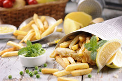 stekt japansk tempura för chiper fisk Royaltyfri Fotografi