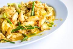 Stekt krabba med currysås Fotografering för Bildbyråer