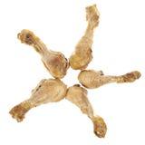 Stekt kyckling lägger benen på ryggen Arkivbild