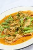 Stekt kyckling med röd curry Arkivfoton