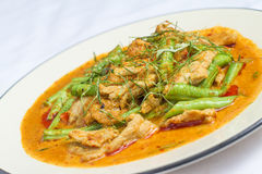 Stekt kyckling med röd curry Royaltyfri Fotografi