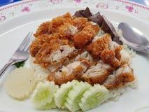 Stekt kyckling med ris och gurkan arkivbild