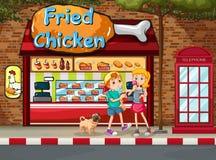 Stekt kyckling shoppar vektor illustrationer