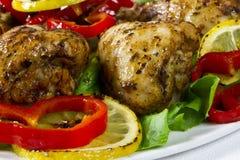 Stekt kycklingdrumsticks Fotografering för Bildbyråer