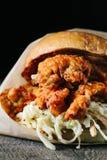 Stekt kycklingsmörgås med kålsallad Arkivfoto
