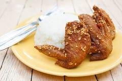 Stekt kycklingvingar med ris royaltyfri bild
