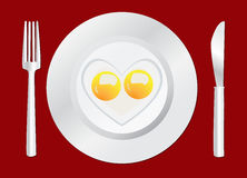 Stekt lycklig frukost för ägg Royaltyfri Bild