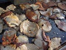 Stekt Meat för grekiska gyroskop Arkivbild