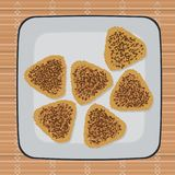 Stekt med soyaonigiri Japansk kokkonst vektor illustrationer