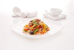 Stekt nudeludon med nötkött och grönsaker Fotografering för Bildbyråer