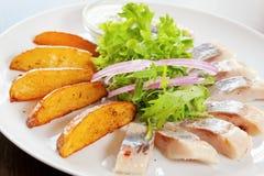 Stekt potatis med den inlagda sillen Royaltyfria Bilder