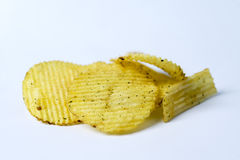 Stekt potatis, rï ¿ ½ fflade szczerbią się pï ¿ ½ en vit bakgrund Zdjęcia Stock