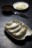 stekt räka för mackerelpastesås Royaltyfri Bild