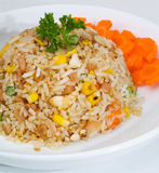 stekt rice en serie av nio asiatmatdisk Royaltyfria Bilder