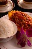 stekt rice för nötköttporslin läcker mat Royaltyfri Fotografi