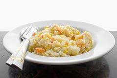 Stekt rice med den torkade räkan Royaltyfri Foto