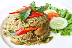 Stekt rice med grön curry Royaltyfri Fotografi