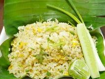 Stekt rice med krabban royaltyfri bild