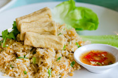 Stekt rice och tofu arkivfoto