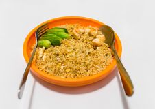 Stekt ris- och räkagurka i orange bunke och rostfri sked Royaltyfri Foto