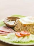 Stekt ris och skinka Arkivbild