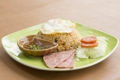 Stekt ris och skinka Royaltyfria Bilder