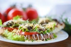Stekt rostat bröd med champinjoner Royaltyfri Foto