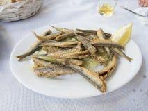 Stekt sardinmaträtt Arkivfoto