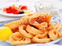 stekt tioarmad bläckfisk Royaltyfri Foto