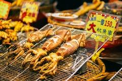 Stekt tioarmad bläckfisk i Taipei Bali den asiatiska marknaden, Taiwan Royaltyfria Bilder