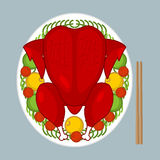 Stekt tuppsymbol av det kinesiska nya året Den bakade röda hanen plat på Royaltyfria Bilder