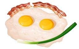 Stekte ägg med stekte bacon och salladslökar stock illustrationer