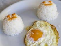 Stekte ägg med ris Arkivbilder