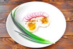Stekte ägg och lökar med rädisan i en platta royaltyfri fotografi