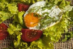 stekte ägg på sidorna av grönsallat på ett bräde Royaltyfria Bilder
