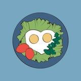 Stekte ägg som lagas mat med förälskelse royaltyfri illustrationer