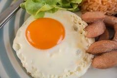 Stekte ägg, stekt kyckling och stekte ris för frukost eller andra gånger Royaltyfri Fotografi