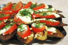 Stekte aubergine och ny tomat med souce och örter Royaltyfria Bilder